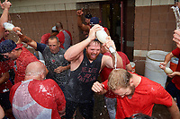 Auburn Doubledays celebrate clinching the NY-Penn League Wild Card after defeating the Batavia Muckdogs by the score of 8-5 on September 3, 2018 at Dwyer Stadium in Batavia, New York.  (Mike Janes/Four Seam Images)