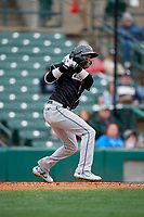 Charlotte Knights Ryan Goins (1) at bat during an International League game against the Rochester Red Wings on June 16, 2019 at Frontier Field in Rochester, New York.  Rochester defeated Charlotte 11-5 in the first game of a doubleheader that was a continuation of a game postponed the day prior due to inclement weather.  (Mike Janes/Four Seam Images)
