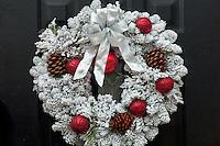 Christmas wreath on door.