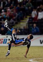 Ramiro Corrales tries for a bicycle kick. FC Dallas defeated the San Jose Earthquakes 2-1 at Buck Shaw Stadium in Santa Clara, California on October 7, 2009.