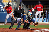 Umpire Mark Bass and GCL Rays catcher Rafelin Lorenzo (8) during the first game of a doubleheader against the GCL Red Sox on August 4, 2015 at Charlotte Sports Park in Port Charlotte, Florida.  GCL Red Sox defeated the GCL Rays 10-2.  (Mike Janes/Four Seam Images)