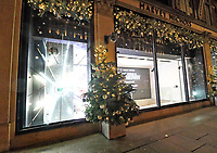 Once known as Princess Diana's favourite shop, Knightsbridge Department store Harvey Nichols is decorated for Christmas with the message 'Bring on 2021'. Knightsbridge, London on December 10th 2020<br /> <br /> Photo by Keith Mayhew