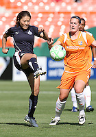 Homare Sawa #10 of Washington Freedom hooks the ball away from Jen Buczkowski #4 of Sky Blue FC during a WPS match at RFK Stadium on May 23, 2009 in Washington D.C.