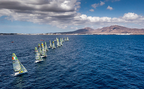 Racing on a more sheltered course area closer to Lanzarote's mountains, lighter winds made for a tactically challenging day