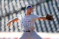 Dakota Bacus (31) of the Indiana State Sycamores delivers a pitch during a game against the Evansville Purple Aces in the 2012 Missouri Valley Conference Championship Tournament at Hammons Field on May 23, 2012 in Springfield, Missouri. (David Welker/Four Seam Images)
