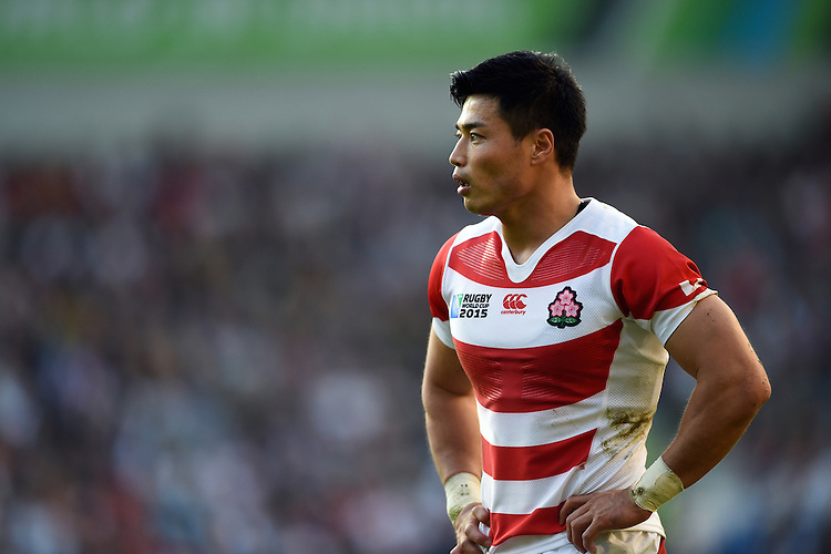 Ayumu Goromaru of Japan looks on during a break in play. Rugby World Cup Pool B match between South Africa and Japan on September 19, 2015 at the Brighton Community Stadium in Brighton, England. Photo by: Patrick Khachfe / Stewart Communications