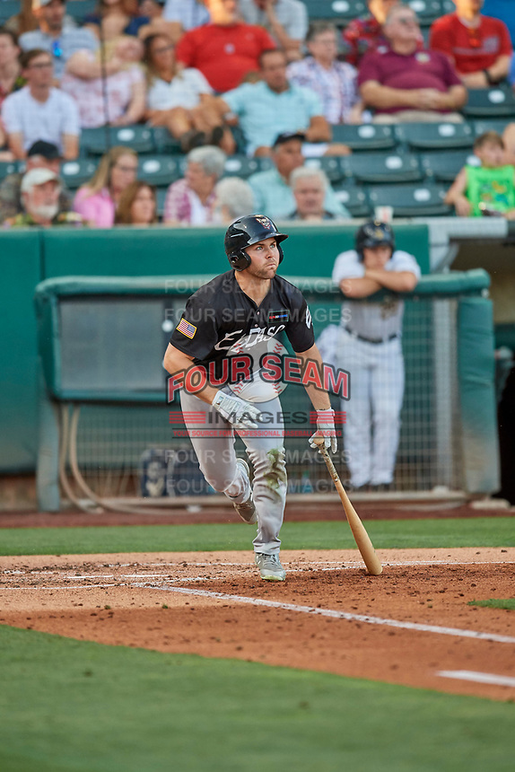 Michael Gettys (7) of the El Paso Chihuahuas at bat against the Salt Lake Bees at Smith's Ballpark on August 17, 2019 in Salt Lake City, Utah. The Bees defeated the Chihuahuas 5-4. (Stephen Smith/Four Seam Images)
