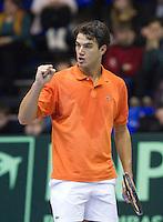 06-03-11, Tennis, Oekraine, Kharkov, Daviscup, Oekraine - Netherlands, Jesse Huta Galung pakt de derde set