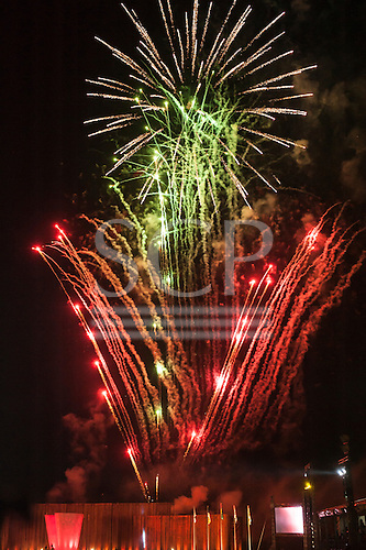 Fireworks explode over the arena during the closing event at the International Indigenous Games, in the city of Palmas, Tocantins State, Brazil. Photo © Sue Cunningham, pictures@scphotographic.com 31st October 2015