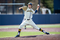Michigan Wolverines pitcher Logan Wood (19) delivers a pitch to the plate against the Maryland Terrapins on May 23, 2021 in NCAA baseball action at Ray Fisher Stadium in Ann Arbor, Michigan. Maryland beat the Wolverines 7-3. (Andrew Woolley/Four Seam Images)