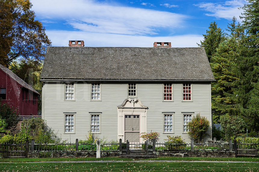 Historic Mission House originally occupied by the Reverand John Sergeant, missionary to the Mohican Indians, Stockbridge, Massachusetts, USA  c. 1742