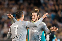 Melbourne, 24 July 2015 - Cristiano Ronaldo of Real Madrid celebrates his goal with Gareth Bale in game three of the International Champions Cup match between Manchester City and Real Madrid at the Melbourne Cricket Ground, Australia. Real Madrid def City 4-1. (Photo Sydney Low / AsteriskImages.com)