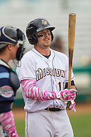 San Antonio Missions outfielder Hunter Renfroe (10) prepares to hit during the Texas League baseball game against the Corpus Christi Hooks on May 10, 2015 at Nelson Wolff Stadium in San Antonio, Texas. The Missions defeated the Hooks 6-5. (Andrew Woolley/Four Seam Images)