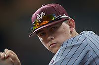 Trysten Barlow (46) of the Mississippi State Bulldogs during the game against the Sam Houston State Bearkats during game eight of the 2018 Shriners Hospitals for Children College Classic at Minute Maid Park on March 3, 2018 in Houston, Texas. The Bulldogs defeated the Bearkats 4-1.  (Brian Westerholt/Four Seam Images)