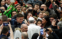 Pope Francis greets the faithful as he arrives to attend his weekly general audience in the Paul VI hall at the Vatican, January 22, 2020.<br /> <br /> UPDATE IMAGES PRESS/Riccardo De Luca<br /> <br /> STRICTLY ONLY FOR EDITORIAL USE