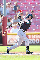 Travis Jankowski #32 of the Eugene Emeralds bats against the Salem-Keizer Volcanoes at Volcanoes Stadium on July 27, 2014 in Keizer, Oregon. Salem-Keizer defeated Eugene, 9-1. (Larry Goren/Four Seam Images)