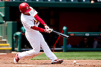 Ryan Jackson (23) of the Springfield Cardinals hits a ground ball during a game against the Midland RockHounds on April 19, 2011 at Hammons Field in Springfield, Missouri.  Photo By David Welker/Four Seam Images