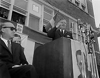 Le chef du PLQ Jean Lesage durant la campagne electorale, le 8 mai 1960<br /> , a Louseville.<br /> <br /> PHOTO  : Agence Quebec Presse - Photo Moderne