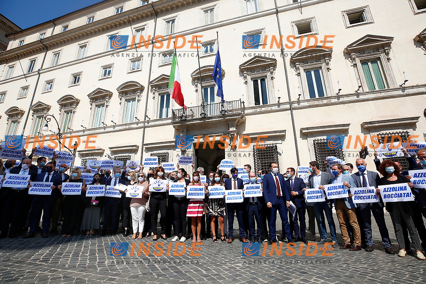 Deputies and senators of the right party Lega per Salvini Premier showing banners and signs against the Minister of Instruction Lucia Azzolina and the Premier Giuseppe Conte (described as a donkey), during the demonstration in Piazza Colonna against the anti-covid provisions contained in the school decree. Rome (Italy), September 9th 2020<br /> Photo Samantha Zucchi Insidefoto