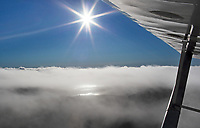 aerial photograph above the fog along the Kelseyville shoreline in the early morning,  Lake County, California; a small portion of Clear Lake reflects enough sunlight to be visible, the wing and strut of a Taylorcraft frame the photograph