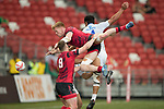 Sam Cross of Wales jumps in the air to catch the ball during the match Wales vs Samoa, Day 2 of the HSBC Singapore Rugby Sevens as part of the World Rugby HSBC World Rugby Sevens Series 2016-17 at the National Stadium on 16 April 2017 in Singapore. Photo by Victor Fraile / Power Sport Images