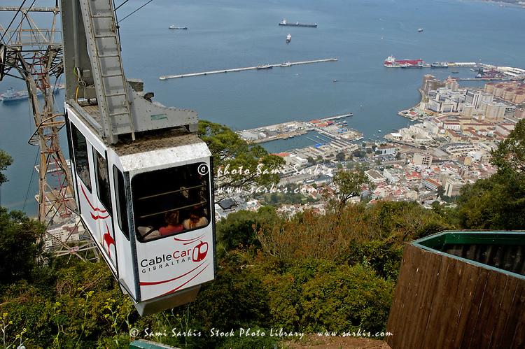 Cable car ascending the Rock of Gibraltar, Gibraltar.