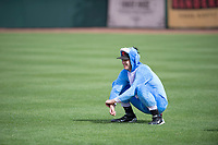 "Scottsdale Scorpions pitcher Cody Carroll (63), of the New York Yankees organization, stretches in his ""Eeyore"" costume prior to an Arizona Fall League game against the Glendale Desert Dogs on October 31, 2017 at Scottsdale Stadium in Scottsdale, Arizona. The Scorpions defeated the Desert Dogs 6-2. (Zachary Lucy/Four Seam Images)"