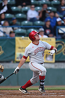 Kyle Schwarber #10 of the Indiana Hoosiers bats against the Long Beach State Dirtbags at Blair Field on March 14, 2014 in Long Beach, California. Long Beach State defeated Indiana 4-3. (Larry Goren/Four Seam Images)