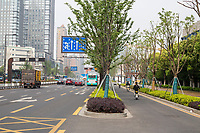 Suzhou, Jiangsu, China.  Many Cities Have Traffic Lane Dedicated to Use by Motorbikes, Bicycles, and other small Vehicles.