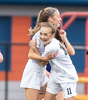 Kayla Hurley (11) of Bentonville celebrates her first score of the night against Rogers Heritage at David Gates Stadium, Rogers, Ark., on Tuesday,, March 30, 2021  / Special to NWA Democrat-Gazette/ David Beach