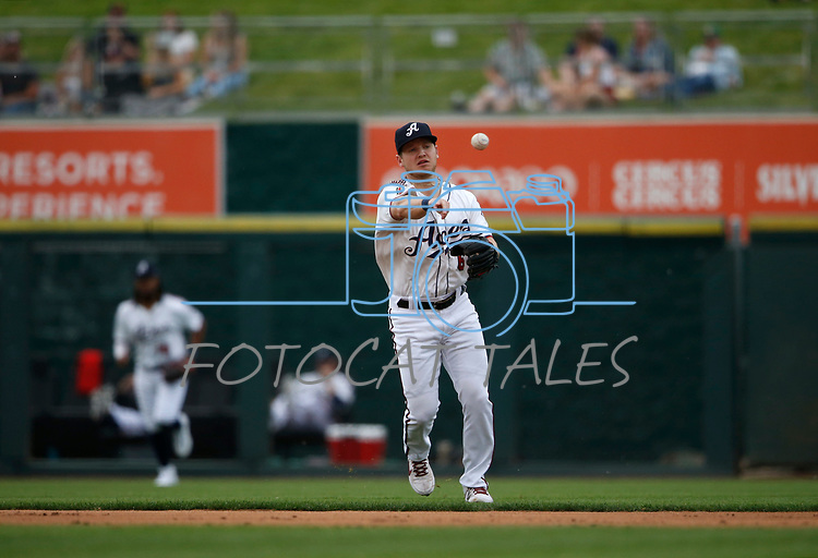 Reno Aces' Stuart Fairchild makes a play against the Tacoma Rainiers, in Reno, Nev., on Friday, May 28, 2021. <br /> Photo by Cathleen Allison