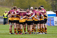 Ampthill team huddle ahead of the Greene King IPA Championship match between Ampthill RUFC and Jersey Reds at Dillingham Park, Ampthill, England on 1 May 2021. Photo by David Horn.