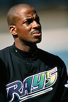 Fred McGriff of the Tampa Bay Devil Rays during a game against the Anaheim Angels at Angel Stadium circa 1999 in Anaheim, California. (Larry Goren/Four Seam Images)