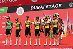 Jumbo-Visma at sign on before the start of Stage 6 of the 2021 UAE Tour running 165km from Deira Island to Palm Jumeirah, Dubai, UAE. 26th February 2021.  <br /> Picture: Eoin Clarke   Cyclefile<br /> <br /> All photos usage must carry mandatory copyright credit (© Cyclefile   Eoin Clarke)