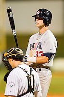 Tyler Naquin #33 (Texas A&M) of the USA Baseball Collegiate National Team at bat against the Gastonia Grizzlies at Sims Legion Park on June 30, 2011 in Gastonia, North Carolina.  Team USA defeated the Grizzlies 12-5.  Brian Westerholt / Four Seam Images
