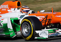 Force India Racing's German Nico Hulkenberg drives his car during the F1 Test days in Montmelo racetrack, Barcelona, 22 February 2012. PHOTO Insidefoto / Alejandro Garcia / Anatomica Press.