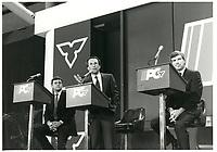 Larry Grossman<br /> , chef du Parti conservateur ontarien, 14 nov 1985<br /> <br />  - PHOTO D'ARCHIVE :  Agence Quebec Presse