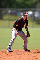 Miami Marlins J.T. Riddle (93) during a minor league spring training game against the St. Louis Cardinals on March 31, 2015 at the Roger Dean Complex in Jupiter, Florida.  (Mike Janes/Four Seam Images)