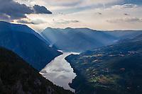 View from Banjska stena: Perućac Lake and Drina River Canyon. Tara mountain, Serbia.