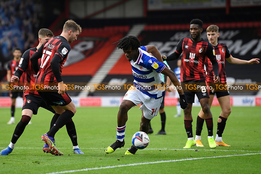 Ovie Ejaria of Reading looks to go around Jack Stacey of AFC Bournemouth during AFC Bournemouth vs Reading, Sky Bet EFL Championship Football at the Vitality Stadium on 21st November 2020