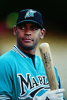 Vladimir Nunez of the Florida Marlins during a game against the Los Angeles Dodgers at Dodger Stadium circa 1999 in Los Angeles, California. (Larry Goren/Four Seam Images)