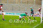 Ballyduff full back Darragh Slattery unable to keep the sliotar out of the goals from Causeways Bryan Murphys effort in round 2 of the County Senior Hurling championship,