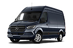 Stock pictures of low aggressive front three quarter view of 2019 Mercedes Benz Sprinter-Fourgon - 4 Door Cargo Van Low Aggressive