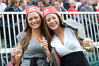 20120823 Copyright onEdition 2012©.Free for editorial use image, please credit: onEdition..Saracens fans enjoying the rugby at The Honourable Artillery Company, London in the pre-season friendly between Saracens and Stade Francais Paris...For press contacts contact: Sam Feasey at brandRapport on M: +44 (0)7717 757114 E: SFeasey@brand-rapport.com..If you require a higher resolution image or you have any other onEdition photographic enquiries, please contact onEdition on 0845 900 2 900 or email info@onEdition.com.This image is copyright the onEdition 2012©..This image has been supplied by onEdition and must be credited onEdition. The author is asserting his full Moral rights in relation to the publication of this image. Rights for onward transmission of any image or file is not granted or implied. Changing or deleting Copyright information is illegal as specified in the Copyright, Design and Patents Act 1988. If you are in any way unsure of your right to publish this image please contact onEdition on 0845 900 2 900 or email info@onEdition.com