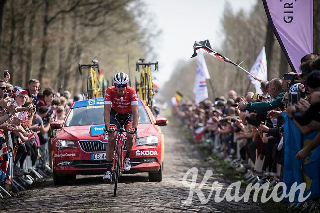 Koen De Kort (NED/Trek Segafredo) on the cobbles of Arenberg Forest / Bois de Wallers <br /> <br /> <br /> 116th Paris-Roubaix (1.UWT)<br /> 1 Day Race. Compiègne - Roubaix (257km)