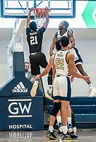WASHINGTON, DC - JANUARY 5: Osun Osunniyi #21 of St. Bonaventure dunks over Maceo Jack #14 of George Washington during a game between St. Bonaventure University and George Washington University at Charles E Smith Center on January 5, 2020 in Washington, DC.