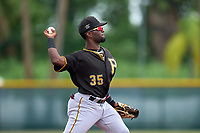FCL Pirates Black shortstop Luis Tejeda (35) throws to first base during a game against the FCL Pirates Gold on July 2, 2021 at Pirate City in Bradenton, Florida.  (Mike Janes/Four Seam Images)