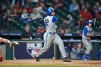 Ben Aklinski (52) of the Kentucky Wildcats follows through on his swing against the Houston Cougars in game two of the 2018 Shriners Hospitals for Children College Classic at Minute Maid Park on March 2, 2018 in Houston, Texas.  The Wildcats defeated the Cougars 14-2 in 7 innings.   (Brian Westerholt/Four Seam Images)