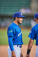 Zac Ching (25) of the Ogden Raptors before the game against the Grand Junction Rockies at Lindquist Field on June 17, 2019 in Ogden, Utah. The Rockies defeated the Raptors 9-0. (Stephen Smith/Four Seam Images)