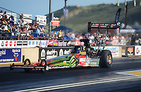 Jul. 23, 2011; Morrison, CO, USA: NHRA top fuel dragster driver Terry McMillen during qualifying for the Mile High Nationals at Bandimere Speedway. Mandatory Credit: Mark J. Rebilas-